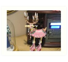 Dancing reindeer Art Print