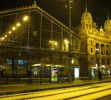 Western Railway Station in snowfall,December night,Budapest city,Europe,2010 by ambrusz