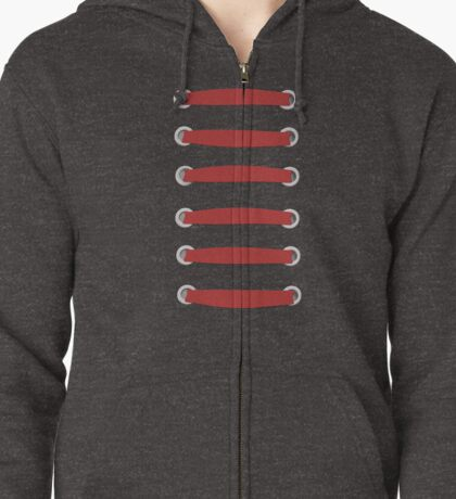 laced up red  Zipped Hoodie