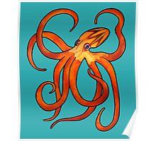 Orange Octopus Poster