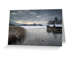 Winter Boathouses Greeting Card