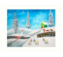 COW SHEEP naive folk winter SNOW SCENE painting Gordon Bruce Art Print