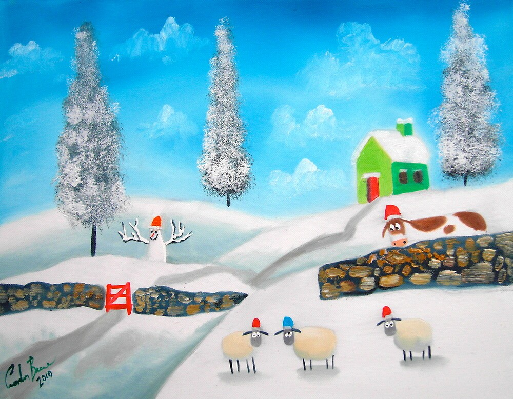 COW SHEEP naive folk winter SNOW SCENE painting Gordon Bruce by gordonbruce