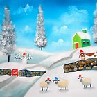 COW SHEEP naive folk winter SNOW SCENE painting Gordon Bruce by gordonbruce