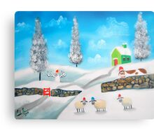 COW SHEEP naive folk winter SNOW SCENE painting Gordon Bruce Metal Print