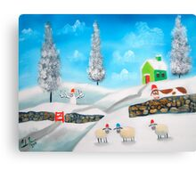 COW SHEEP naive folk winter SNOW SCENE painting Gordon Bruce Canvas Print