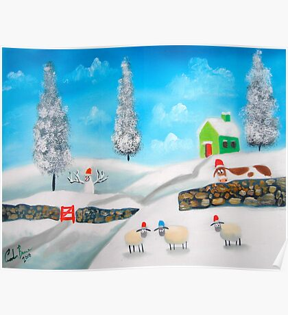 COW SHEEP naive folk winter SNOW SCENE painting Gordon Bruce Poster