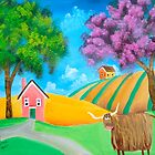 Highland cow naive folk art oil painting Gordon Bruce  by gordonbruce