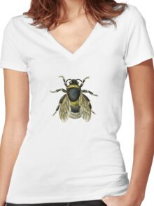 antique typographic vintage honey bee Women's Fitted V-Neck T-Shirt