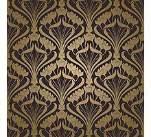 art nouveau,deco,vintage,black,gold,1920's design,graphic,digital design,trendy,retro,floral Photographic Print