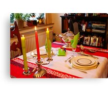 Christmas dinner for two. Canvas Print