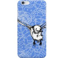 Flying Bird on Floral-Blue iPhone Case/Skin