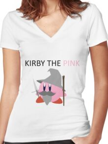 Kirby the Pink Women's Fitted V-Neck T-Shirt