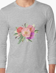 Pink Watercolor Flowers Long Sleeve T-Shirt