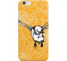 Flying Bird on Floral-Yellow iPhone Case/Skin