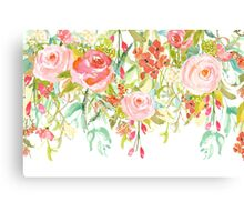 Pink Watercolor Garden Floral Canvas Print