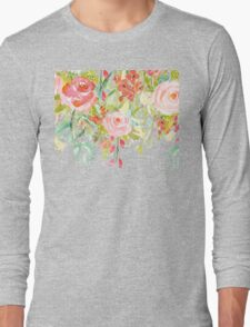 Pink Watercolor Garden Floral Long Sleeve T-Shirt