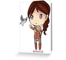 Katniss Everdeen Chibi by KlockworkKat Greeting Card