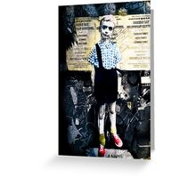 Boy with Hand Grenade Greeting Card