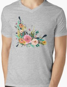 Pretty Watercolor Garden Floral Mens V-Neck T-Shirt