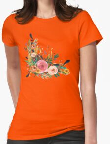 Pretty Watercolor Garden Floral Womens Fitted T-Shirt