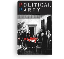 Political Party! shirt (and other items available too) - Choose shirt style/color! (tshirt with red solo solos, shades, beer pong)  Canvas Print
