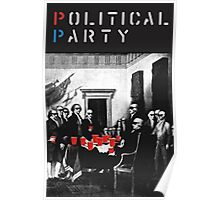 Political Party! shirt (and other items available too) - Choose shirt style/color! (tshirt with red solo solos, shades, beer pong)  Poster