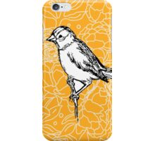 Perched Bird on Floral Pattern-Yellow iPhone Case/Skin