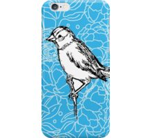 Perched Bird on Floral Pattern-Turquoise iPhone Case/Skin