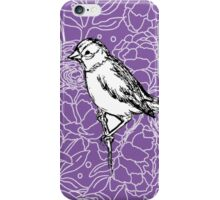 Perched Bird on Floral Pattern-Purple iPhone Case/Skin