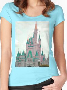 Pink & Teal Castle Women's Fitted Scoop T-Shirt