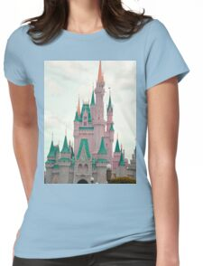 Pink & Teal Castle Womens Fitted T-Shirt