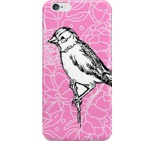 Perched Bird on Floral Pattern-Pink iPhone Case/Skin