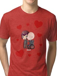 Mutant and Proud: Magneto and Professor Xavier Chibis by Klockworkkat Tri-blend T-Shirt
