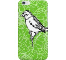 Perched Bird on Floral Pattern-Apple Green iPhone Case/Skin