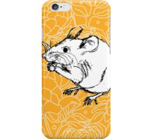 Mouse on Floral Background-Yellow iPhone Case/Skin