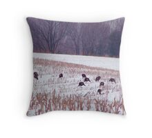 Snow covered cornfield Throw Pillow
