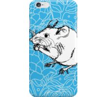 Mouse on Floral Background-Turquoise iPhone Case/Skin