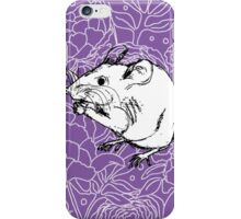 Mouse on Floral Background-Purple iPhone Case/Skin