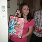 Angel bag painted (French Horn) for Jessica on Christmas Day by Penny Hetherington