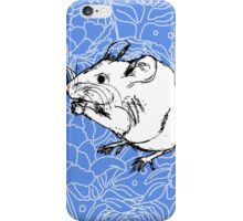 Mouse on Floral Background-Blue iPhone Case/Skin