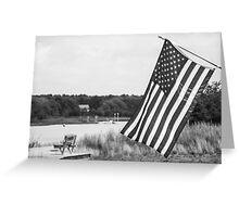 American Flag- Summer in B&W Greeting Card