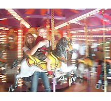 Mother and Child on Carousel Photographic Print