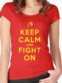 Keep Calm and Fight On (Gold Letters) Women's Fitted Scoop T-Shirt