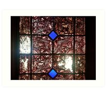 Stained glass in historical building Art Print