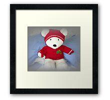 He is so cuddly, Bertie Bear Framed Print