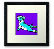 Boston Bull Terrier Puppy Blue Framed Print