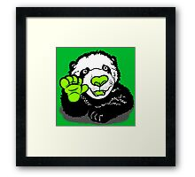 Happy Panda Tee Design Green  Framed Print