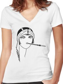 Queen of the Flappers Women's Fitted V-Neck T-Shirt
