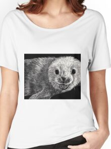 black and white seal on scratchboard Women's Relaxed Fit T-Shirt